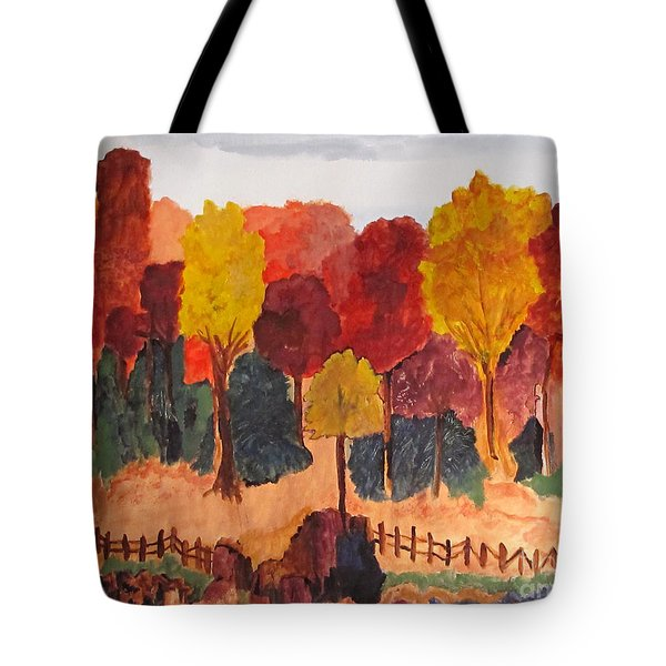 The Pasture In Autumn Tote Bag by Sandy McIntire