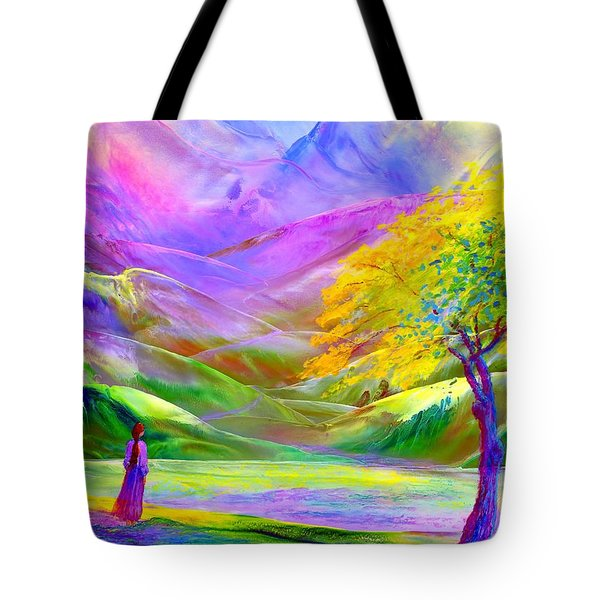 Tote Bag featuring the painting Misty Mountains, Fall Color And Aspens by Jane Small