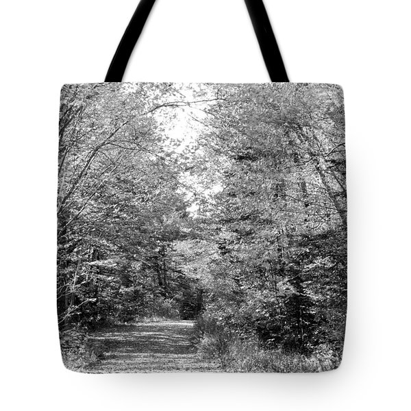 The Path Less Traveled Black And White Tote Bag by Brett Pelletier