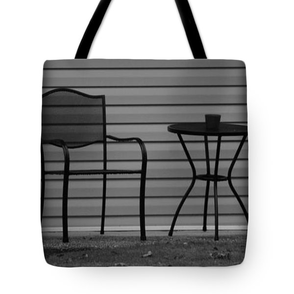 The Patio Chairs In Black And White Tote Bag by Rob Hans