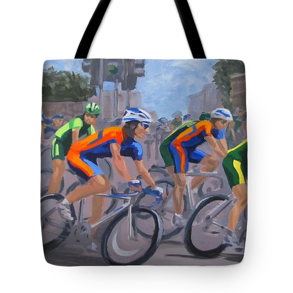 Tote Bag featuring the painting The Peloton by Karen Ilari