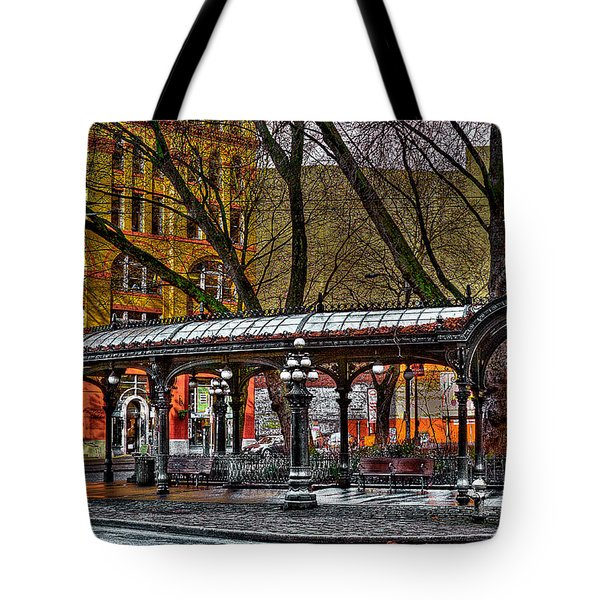 The Pergola In Pioneer Square - Seattle  Tote Bag by David Patterson