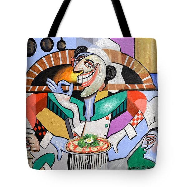 Tote Bag featuring the painting The Personal Size Gourmet Pizza by Anthony Falbo