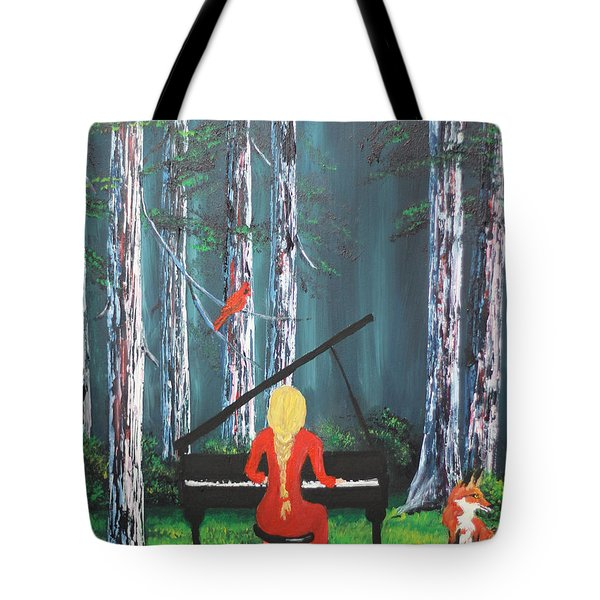 The Pianist In The Woods Tote Bag