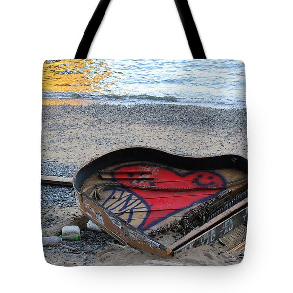 The Piano In New York Harbor Tote Bag