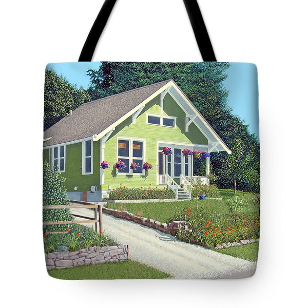 Tote Bag featuring the painting Our Neighbour's House by Gary Giacomelli