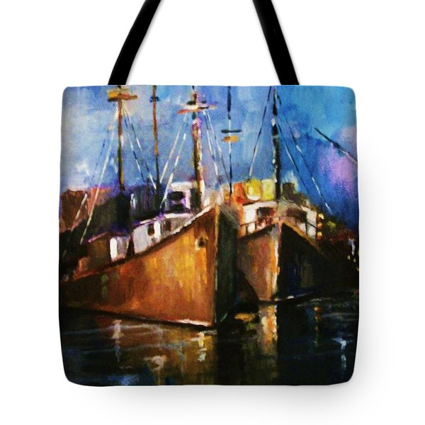 Tote Bag featuring the painting The Pier At Sunset by Al Brown