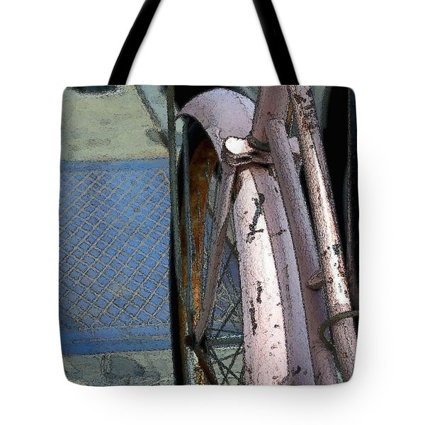 Tote Bag featuring the photograph The Pink Bicyclette by Nadalyn Larsen