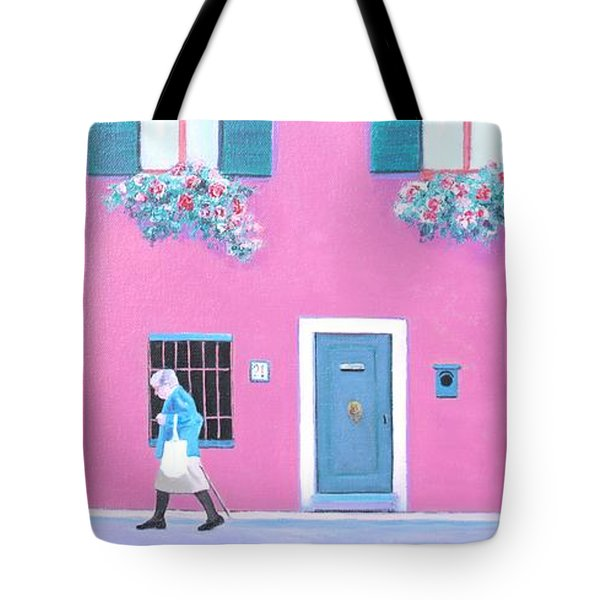 The Pink House With Green Shutters Tote Bag