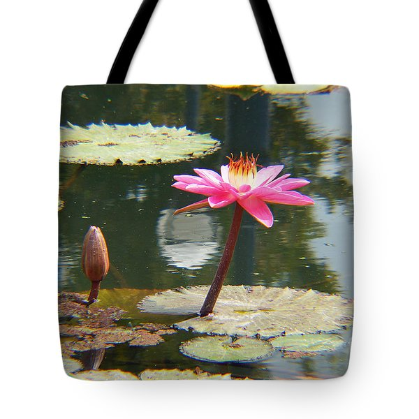 The Pink Water Lily With Lily Pads - One Tote Bag by J Jaiam