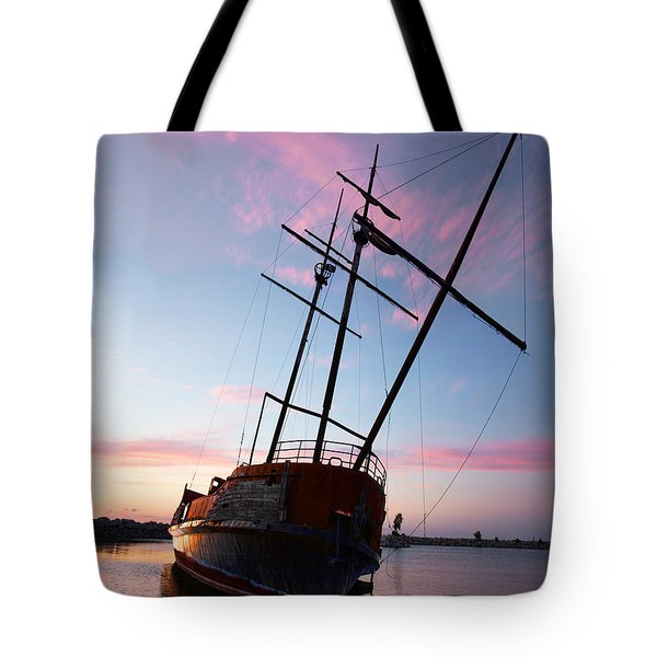 The Pirate Ship Tote Bag by Barbara McMahon