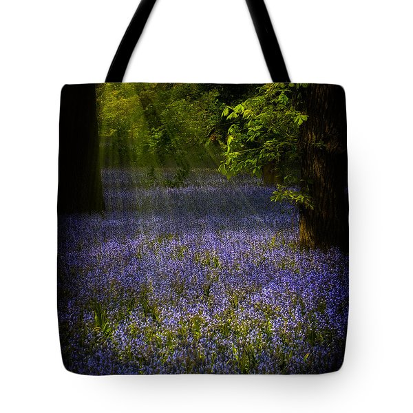 Tote Bag featuring the photograph The Pixie's Bluebell Patch by Chris Lord