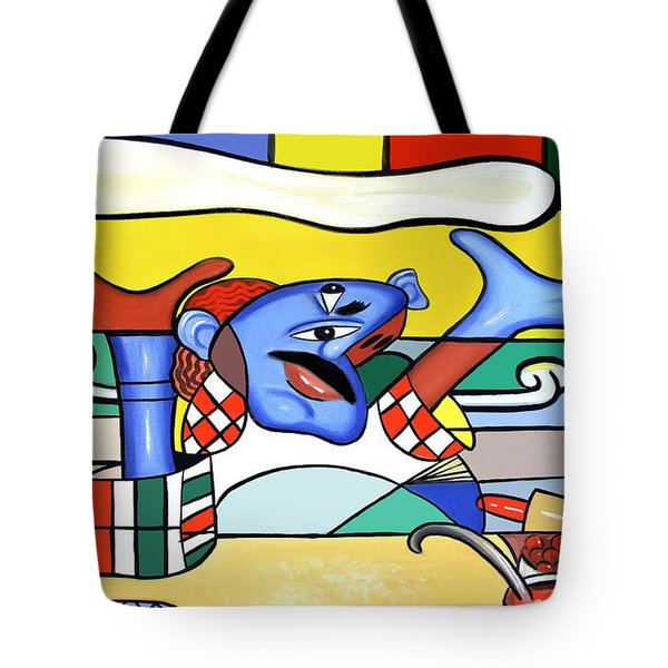 Tote Bag featuring the painting The Pizza Guy by Anthony Falbo