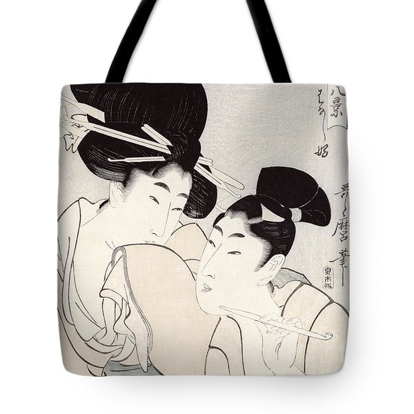 The Pleasure Of Conversation Tote Bag by Kitagawa Utamaro