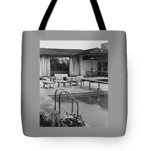 The Pool And Pavilion Of A House Tote Bag