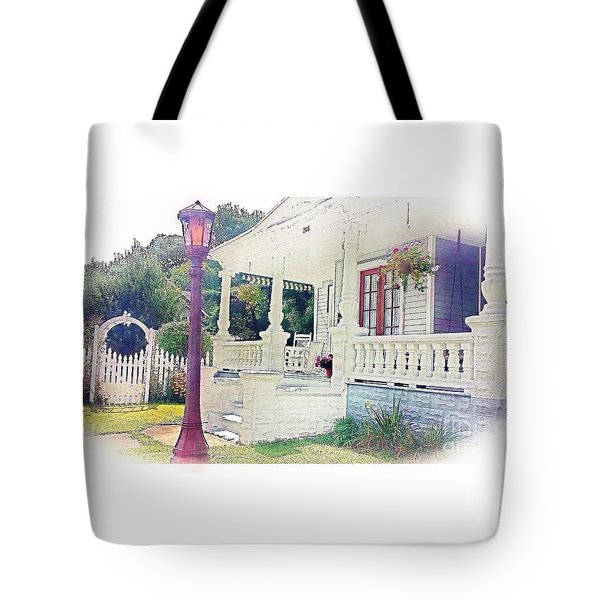 The Porch Lamp Post And The Gate Tote Bag