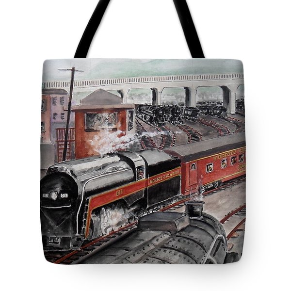 The Powhatan Arrow Roars Through The Yards Into Portmouth Tote Bag by Frank Hunter