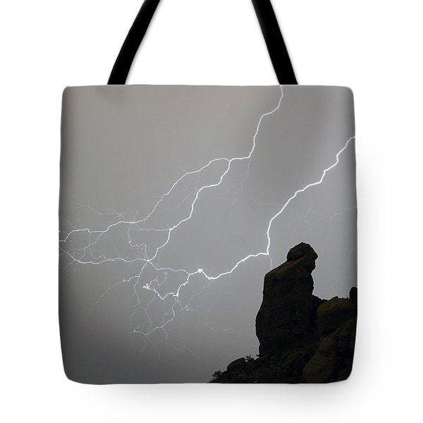 The Praying Monk Lightning Storm Chase Tote Bag by James BO  Insogna