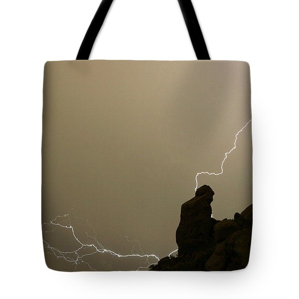 The Praying Monk Lightning Strike Tote Bag by James BO  Insogna