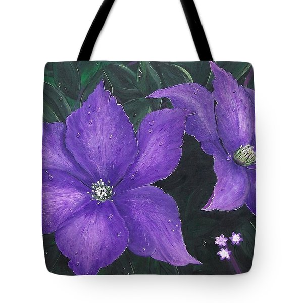 Tote Bag featuring the painting The President Clematis by Sharon Duguay