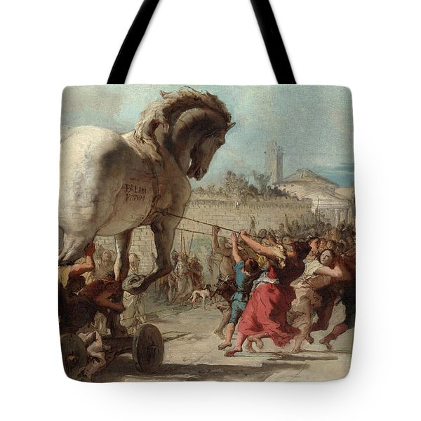 The Procession Of The Trojan Horse Into Troy Tote Bag