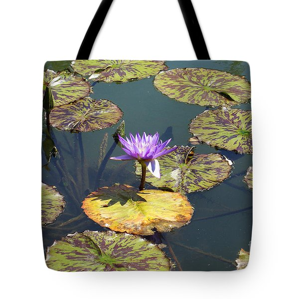 The Purple Water Lily With Lily Pads - Two Tote Bag