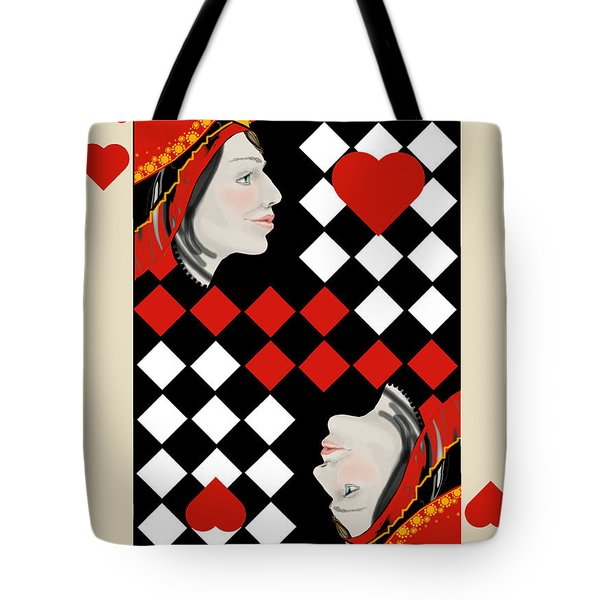 Tote Bag featuring the painting The Queen On Her Card by Carol Jacobs