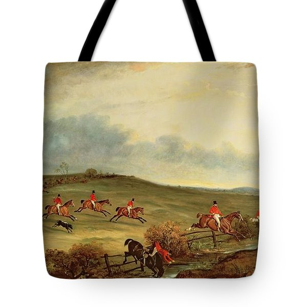 The Quorn In Full Cry Near Tiptoe Hill Tote Bag by John E Ferneley