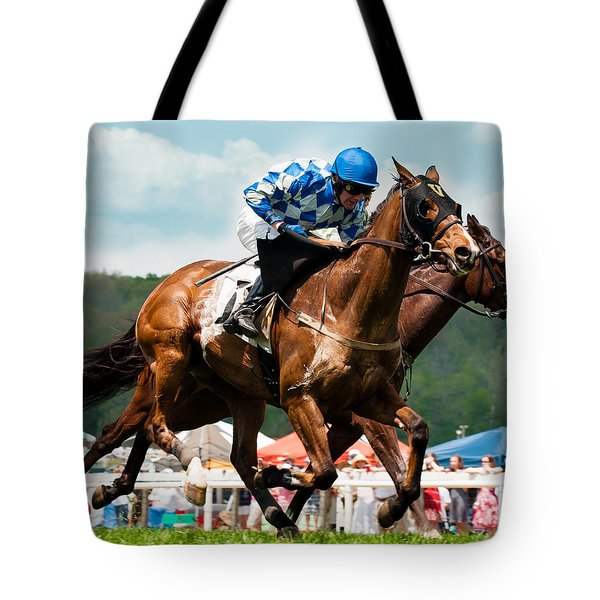 The Race Is On Tote Bag by Robert L Jackson