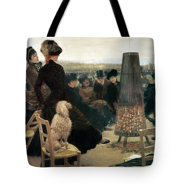 The Races At Auteuil Tote Bag by Giuseppe Nittis