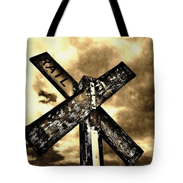 The Railroad Crossing Tote Bag by Glenn McCarthy Art and Photography