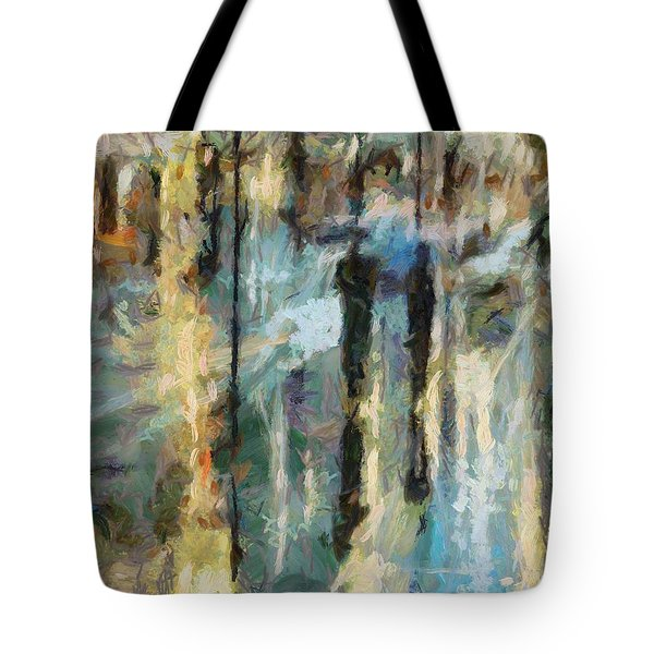 Tote Bag featuring the painting The Rain In Paris by Dragica  Micki Fortuna