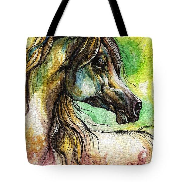 The Rainbow Colored Arabian Horse Tote Bag
