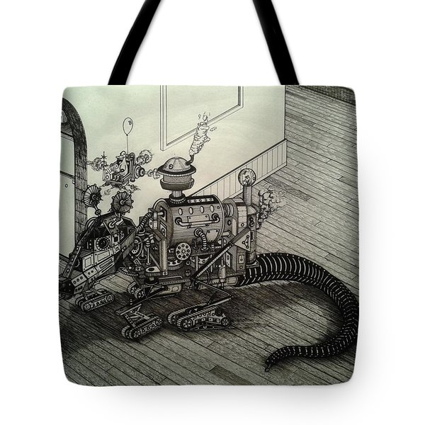 Tote Bag featuring the drawing The Rat by Richie Montgomery