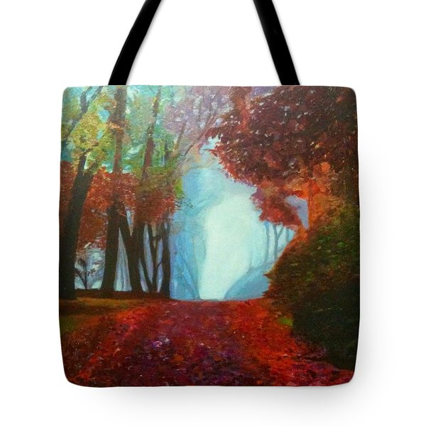 Tote Bag featuring the painting The Red Cathedral - A Journey Of Peace And Serenity by Belinda Low