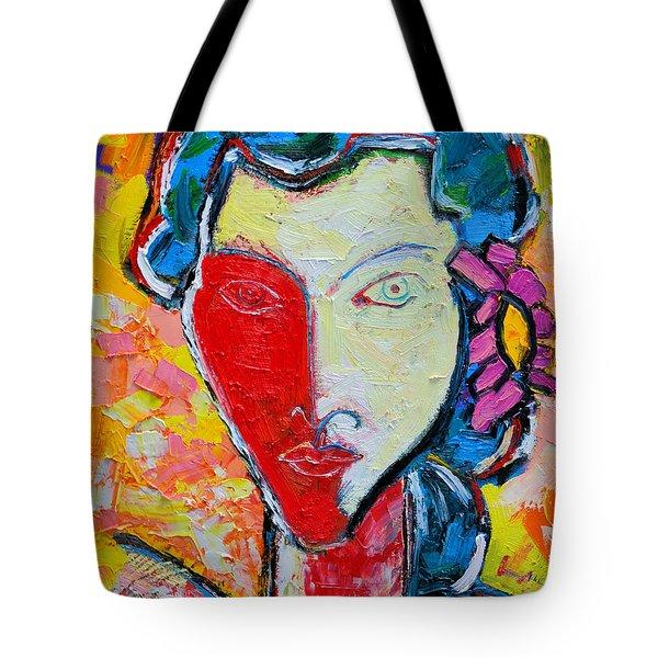 The Red Half Expressionist Girl Portrait  Tote Bag by Ana Maria Edulescu