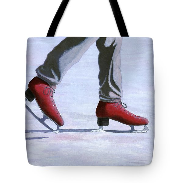 The Red Ice Skates Tote Bag by Karyn Robinson
