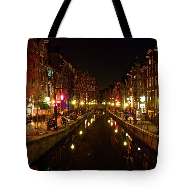 The Red Lights Of Amsterdam Tote Bag by Jonah  Anderson