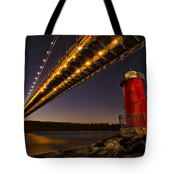 The Red Little Lighthouse Tote Bag