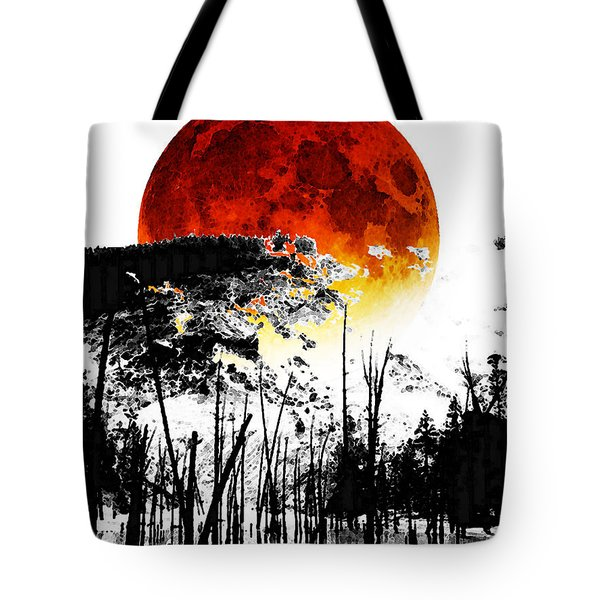 The Red Moon - Landscape Art By Sharon Cummings Tote Bag by Sharon Cummings