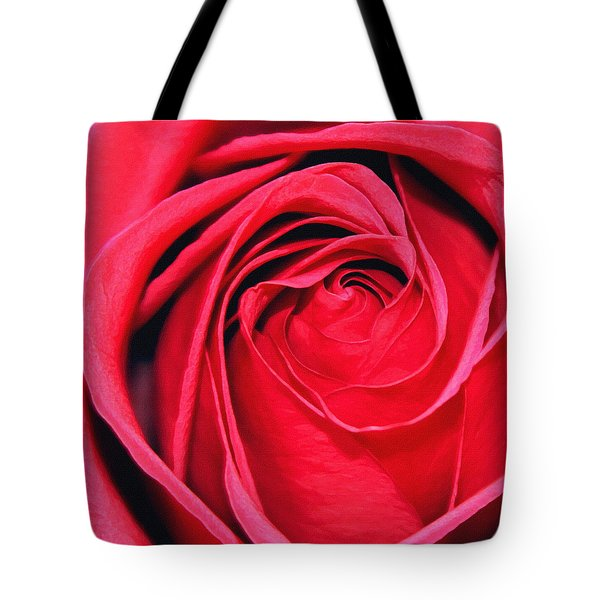 Tote Bag featuring the painting The Red Rose Blooming by Karon Melillo DeVega