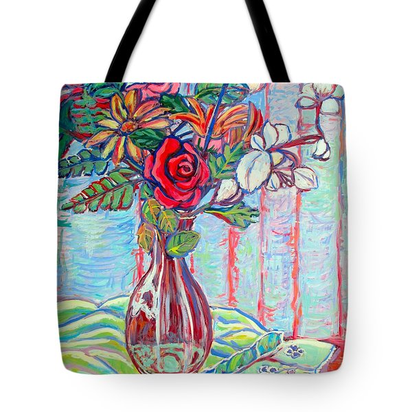 The Red Rose Tote Bag by Kendall Kessler