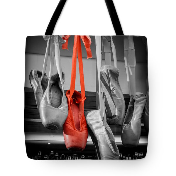 The Red Slipper Tote Bag by Peta Thames