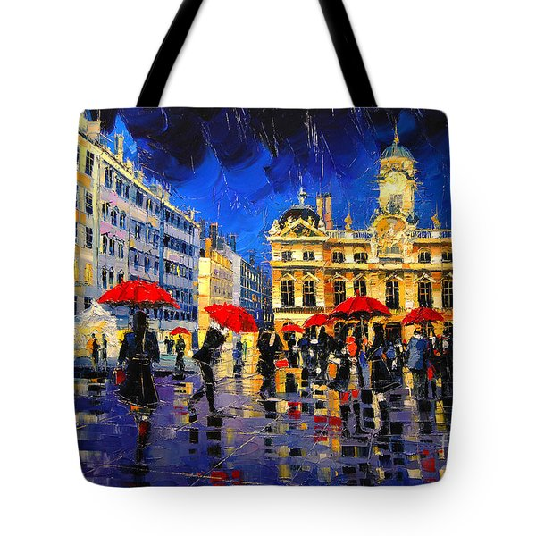The Red Umbrellas Of Lyon Tote Bag
