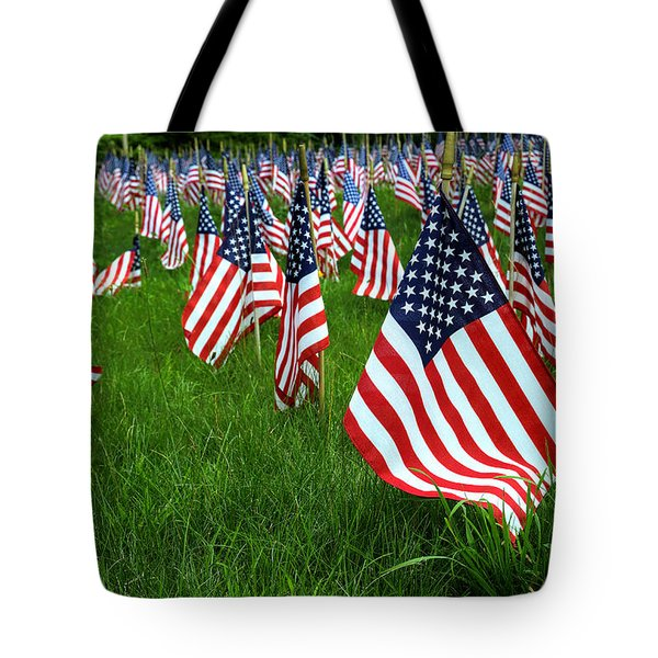 The Red White And Blue  American Flags Tote Bag by Donna Doherty