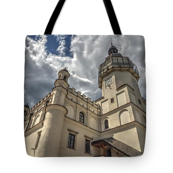 Tote Bag featuring the photograph The Renaissance Town Hall In Szydlowiec In Poland Seen From A Different Perspective by Julis Simo