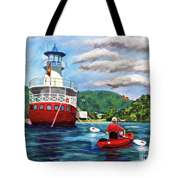 Out Kayaking Tote Bag by Laura Forde