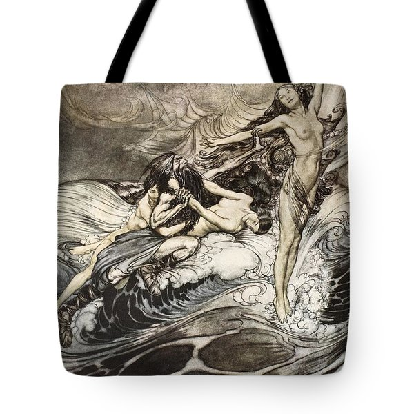 The Rhinemaidens Obtain Possession Of The Ring And Bear It Off In Triumph Tote Bag
