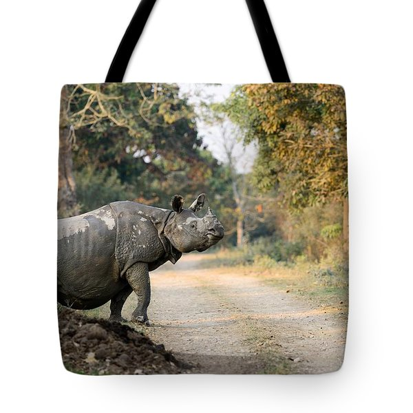 The Rhino At Kaziranga Tote Bag by Fotosas Photography