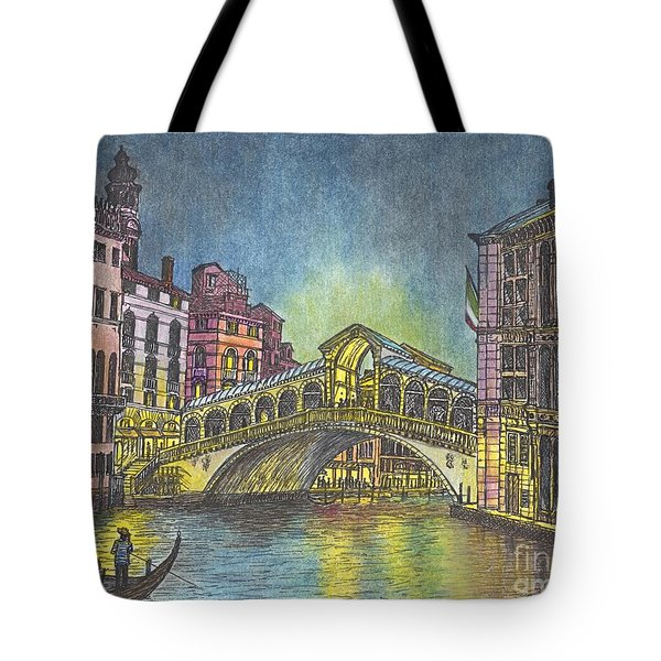 Relections Of Light And The Rialto Bridge An Evening In Venice  Tote Bag